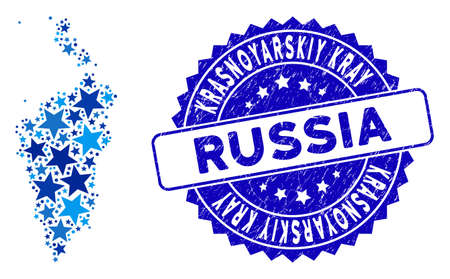Blue Krasnoyarskiy Kray map collage of stars, and distress rounded stamp seal. Abstract territory plan in blue color tinges. Vector Krasnoyarskiy Kray map is composed of blue stars.