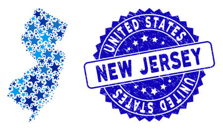 Blue New Jersey State map mosaic of stars, and scratched rounded seal. Abstract territorial scheme in blue color tones. Vector New Jersey State map is shaped of blue stars.
