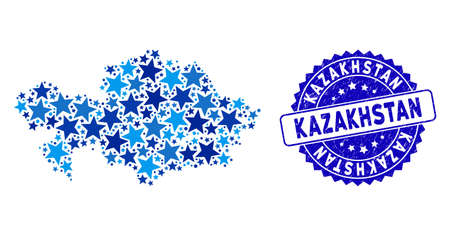 Blue Kazakhstan map collage of stars, and distress rounded stamp seal. Abstract geographic scheme in blue color tones. Vector Kazakhstan map is composed of blue stars. 向量圖像
