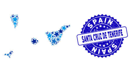 Blue Santa Cruz de Tenerife Province map mosaic of stars, and distress round seal. Abstract territory scheme in blue color tints. Vector Santa Cruz de Tenerife Province map is designed of blue stars. Vector Illustration