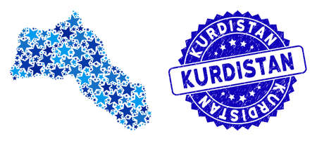 Blue Kurdistan map collage of stars, and grunge round stamp. Abstract geographic scheme in blue color hues. Vector Kurdistan map is designed of blue stars.
