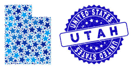Blue Utah State map collage of stars, and grunge round stamp seal. Abstract geographic plan in blue color tinges. Utah State map is designed of blue stars. 向量圖像