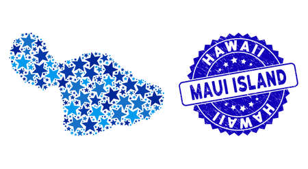 Blue Maui Island map collage of stars, and textured round stamp. Abstract territorial scheme in blue color tints. Maui Island map is designed with blue stars.