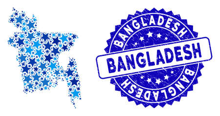 Blue Bangladesh map collage of stars, and grunge rounded stamp. Abstract territory scheme in blue color tones. Vector Bangladesh map is designed of blue stars.