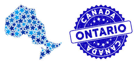 Blue Ontario Province map composition of stars, and scratched round stamp. Abstract territory scheme in blue color hues. Vector Ontario Province map is formed of blue stars. 일러스트
