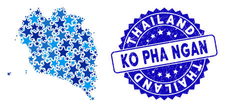 Blue Ko Pha Ngan map collage of stars, and textured round stamp. Abstract territory plan in blue shades. Vector Ko Pha Ngan map is done of blue stars. Designed for political and patriotic agitation. 일러스트