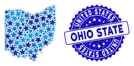 Blue Ohio State map composition of stars, and textured rounded seal. Abstract geographic scheme in blue color hues. Vector Ohio State map is designed with blue stars.