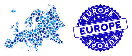 Blue Europe map mosaic of stars, and scratched rounded stamp seal. Abstract territory scheme in blue color tints. Europe map is designed of blue stars.