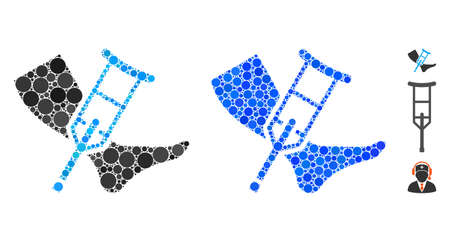 Leg and crutch mosaic of round dots in variable sizes and color tones, based on leg and crutch icon. Vector round dots are grouped into blue mosaic. Illustration