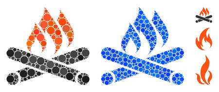 Campfire mosaic of round dots in various sizes and color tones, based on campfire icon. round dots are grouped into blue mosaic. Dotted campfire icon in usual and blue versions.