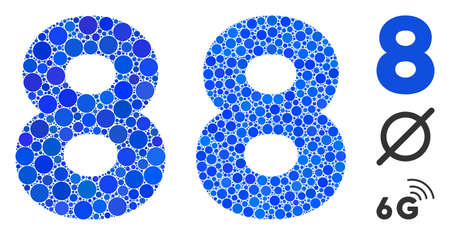 8 digit composition of circle elements in variable sizes and color tinges, based on 8 digit icon. Vector circle elements are organized into blue illustration.