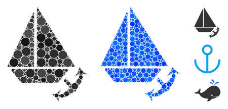 Seaport mosaic of filled circles in variable sizes and color tinges, based on seaport icon. filled circles are organized into blue mosaic. Dotted seaport icon in usual and blue versions.  イラスト・ベクター素材