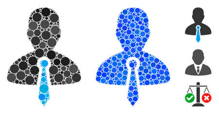 Lawyer tie composition of small circles in different sizes and color tints, based on lawyer tie icon. Vector small circles are composed into blue collage. 矢量图像