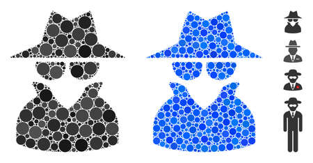 Spy composition of round dots in various sizes and color tones, based on spy icon. round dots are organized into blue composition. Dotted spy icon in usual and blue versions.