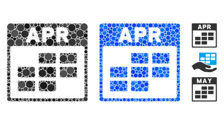 April grid mosaic of circle elements in different sizes and color hues, based on April grid icon. circle elements are organized into blue mosaic.