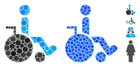 Wheelchair mosaic of circle elements in different sizes and color tones, based on wheelchair icon. Vector circle elements are grouped into blue collage.