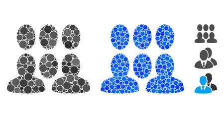 Auditory mosaic of circle elements in different sizes and shades, based on auditory icon. Vector circle elements are combined into blue illustration. Dotted auditory icon in usual and blue versions.