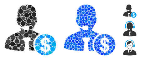 Bank call center composition of small circles in different sizes and color hues, based on bank call center icon. filled circles are grouped into blue composition. 向量圖像
