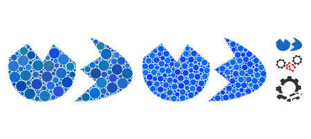 Broken eggshell mosaic of small circles in different sizes and color tones, based on broken eggshell icon. small circles are composed into blue mosaic.