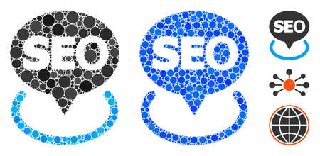 Local seo mosaic of round dots in various sizes and color tints, based on local seo icon. dots are organized into blue mosaic. Dotted local seo icon in usual and blue versions.