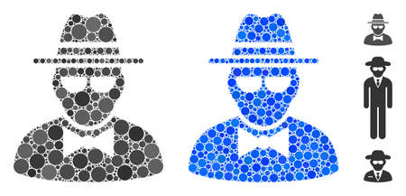 Secret agent composition of round dots in variable sizes and color tints, based on secret agent icon. dots are organized into blue composition.