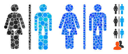 WC alcoholic persons composition of small circles in different sizes and color tinges, based on WC alcoholic persons icon. Vector small circles are grouped into blue mosaic.
