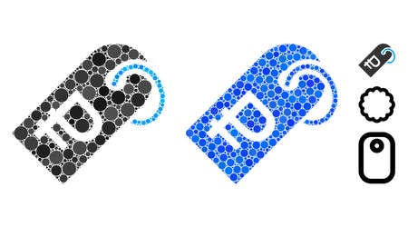 Rouble token mosaic of filled circles in different sizes and color tints, based on rouble token icon. Vector small circles are united into blue mosaic.