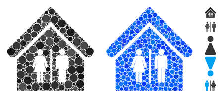 Toilet building composition of small circles in variable sizes and shades, based on toilet building icon. Vector small circles are composed into blue mosaic.