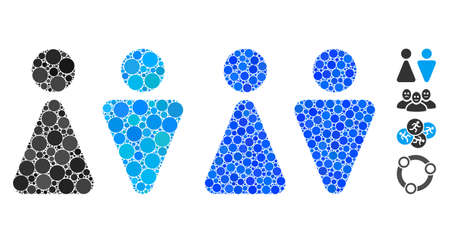 WC persons mosaic of round dots in variable sizes and color tones, based on WC persons icon. Vector round dots are organized into blue mosaic. Dotted WC persons icon in usual and blue versions.