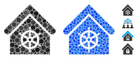 Steering wheel house mosaic of round dots in different sizes and color tints, based on steering wheel house icon. Vector dots are organized into blue mosaic.