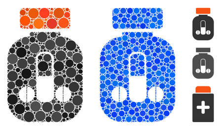 Male medicine composition of round dots in different sizes and color tints, based on male medicine icon. Vector dots are composed into blue composition.
