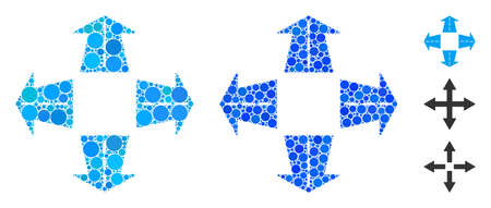 Road directions composition of small circles in variable sizes and color tinges, based on road directions icon. Vector small circles are grouped into blue composition. Illustration
