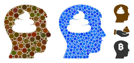 Shit brains head composition of filled circles in different sizes and color hues, based on shit brains head icon. Vector filled circles are united into blue composition.