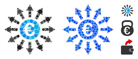 Euro payments composition of round dots in various sizes and color tones, based on Euro payments icon. Vector round dots are grouped into blue mosaic.
