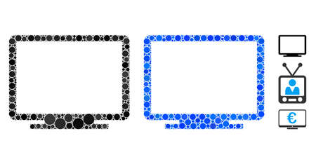 Display mosaic of small circles in variable sizes and shades, based on display icon. Vector small circles are organized into blue mosaic. Dotted display icon in usual and blue versions.