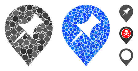 Interest pin marker mosaic of circle elements in variable sizes and color tones, based on interest pin marker icon. Vector circle elements are organized into blue mosaic.