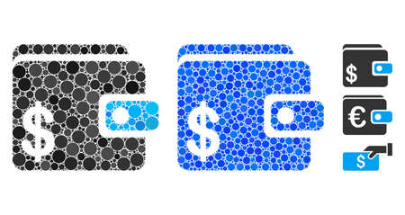 Dollar wallet composition of round dots in different sizes and shades, based on dollar wallet icon. Vector round dots are united into blue composition.