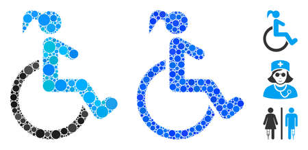 Disabled woman mosaic of round dots in different sizes and color tinges, based on disabled woman icon. Vector round dots are composed into blue illustration.
