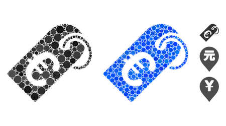 Euro tag mosaic of filled circles in different sizes and color tinges, based on Euro tag icon. Vector small circles are united into blue mosaic. Dotted Euro tag icon in usual and blue versions.