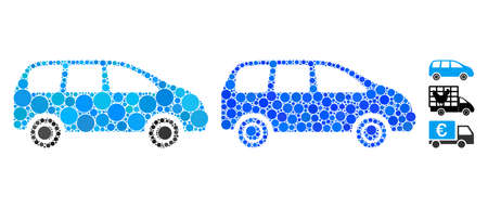 Minivan mosaic of small circles in different sizes and color tinges, based on minivan icon. Vector small circles are united into blue illustration. Dotted minivan icon in usual and blue versions.