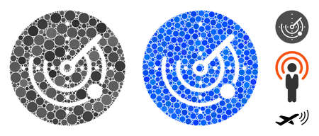 Radar composition of small circles in various sizes and shades, based on radar icon. Vector filled circles are grouped into blue illustration. Dotted radar icon in usual and blue versions. Vektoros illusztráció