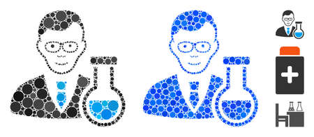 Chemist mosaic of small circles in different sizes and color tints, based on chemist icon. Vector small circles are grouped into blue collage. Dotted chemist icon in usual and blue versions.