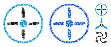 Drone screw composition of filled circles in variable sizes and color tones, based on drone screw icon. Vector filled circles are grouped into blue collage. Illustration