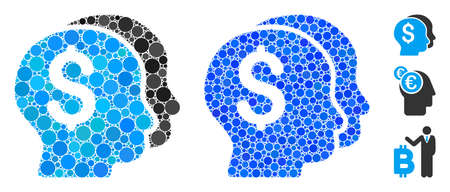 Bankers composition of round dots in variable sizes and color tones, based on bankers icon. Vector round elements are composed into blue composition. Dotted bankers icon in usual and blue versions.