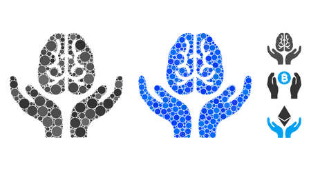 Brain care hands mosaic of circle elements in variable sizes and color hues, based on brain care hands icon. Vector circle elements are combined into blue mosaic.