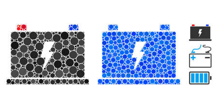 Electric battery composition of small circles in different sizes and color tones, based on electric battery icon. Vector filled circles are grouped into blue composition. Illusztráció