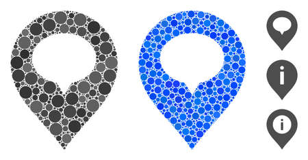Banner marker composition of spheric dots in variable sizes and shades, based on banner marker icon. Vector dots are grouped into blue composition. Illusztráció