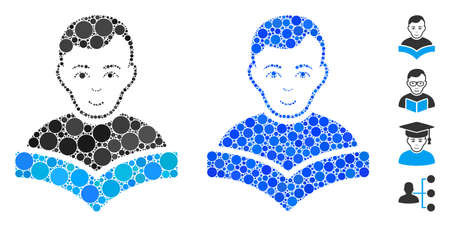 Student composition of small circles in various sizes and shades, based on student icon. Vector small circles are composed into blue composition. Dotted student icon in usual and blue versions.