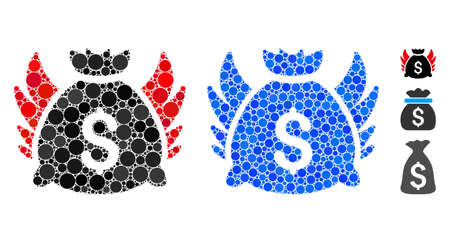 Angel invest bag composition of round dots in different sizes and color hues, based on angel invest bag icon. Vector round dots are organized into blue composition.