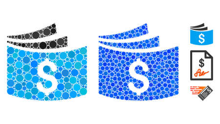 Checkbook composition of round dots in different sizes and color tones, based on checkbook icon. Vector round dots are grouped into blue illustration. Dotted checkbook icon in usual and blue versions.